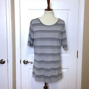 LULAROE Grey Striped Crewneck Short Sleeved Top XL